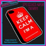FITS IPHONE 4 / 4S PHONE KEEP CALM IM A OWN WORDING  PERSONALISED COVER RED